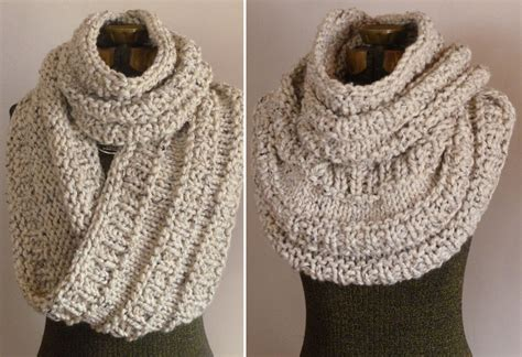 knitting pattern chunky snood chunky hand knit cowl in oatmeal knit huge by bopeepsbonnets
