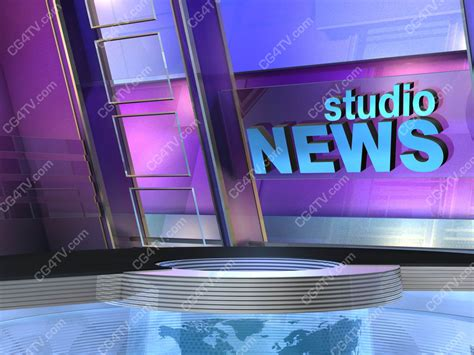 news room background sets 3d computer animation 4 green blue chroma key