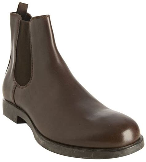 prada chelsea boots mens prada cocoa leather chelsea boots in brown for cocoa
