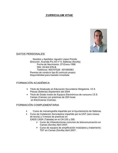 Modelo De Curriculum Vitae Con Licencia De Conducir Curriculum Vitae Agustin L 243 Pez Polvillo