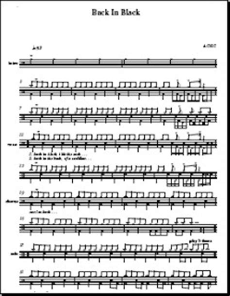 drum tutorial back in black back in black acdc drum sheet music onlinedrummer com