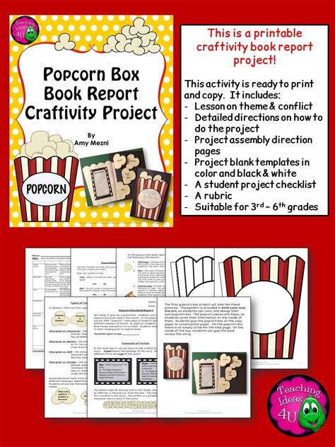 ideas for book reports fiction popcorn box book report craftivity project theme