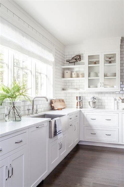 white on white kitchen stainless steel apron sink with modern faucet