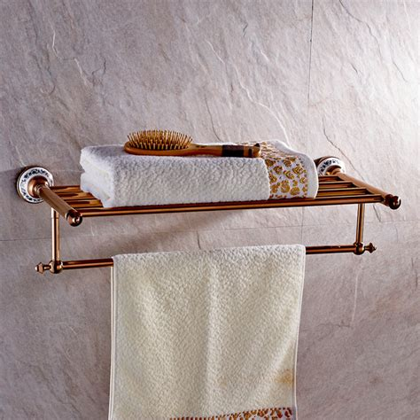 ceramic bathroom towel holder rose gold towel rack with ceramic bathroom shelf m203