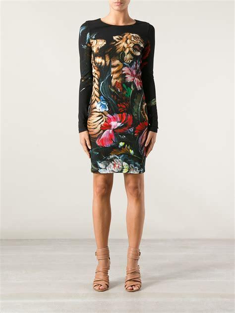 Green Tiger Dress 1 lyst roberto cavalli tiger print dress in black