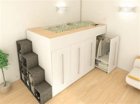 meubles rangement gain de place pour studio table de lit