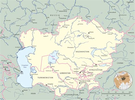 central asia map map of central asia