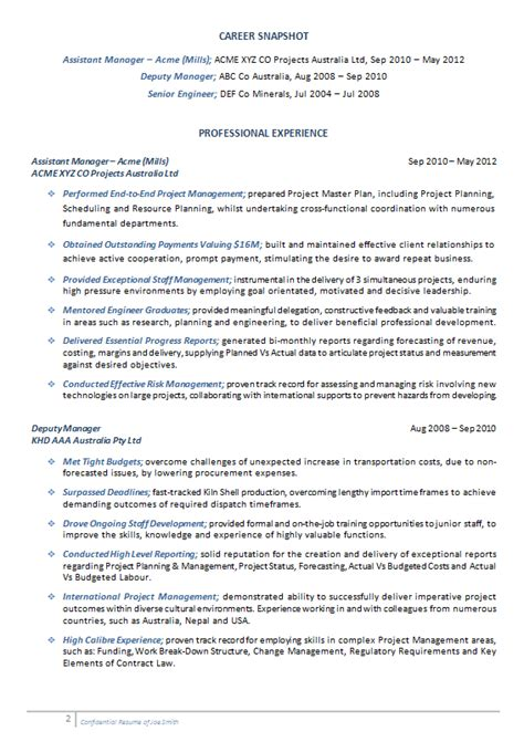 Resume Of Project Manager Mechanical Cv Resume Sles Professional Resume Writing Services