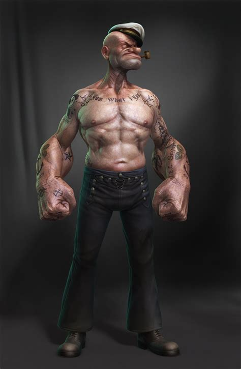 popeyes tattoo lifelike 3d digital artwork of popeye the sailor by