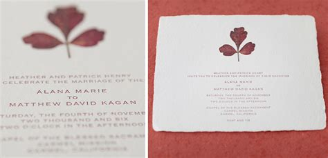 Wedding Invitations Handmade Paper by Pressed Leaf Wedding Invitation On Handmade Paper Tiny