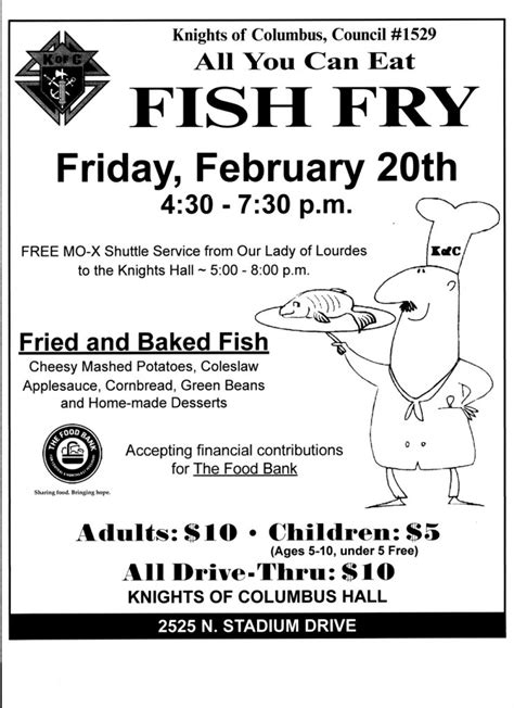 Fish Fry Dinner Feb 20 2015 Knights Of Columbus Columbia Council 1529 Fish Fry Menu Template