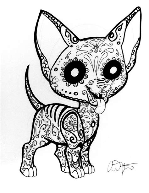 day of the dead coloring pages dogs sugar skull