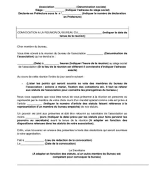 bureau d une association exemple gratuit de lettre convocation membres bureau une