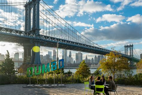dumbo section of brooklyn color changing dumbo sign will give traffic and weather