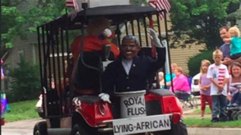 Indiana Moron Drives Lying African Obama Float In 4th Of Indiana Drives Parade Float Showing President
