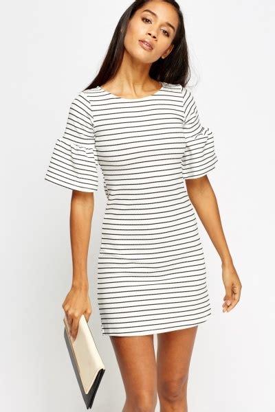 Kefia Stripe Flare Mini Dress flare sleeve stripe mini dress just 163 5