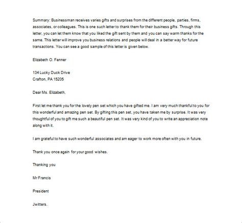 appreciation letter for the gift sle business thank you letter 12 free word excel