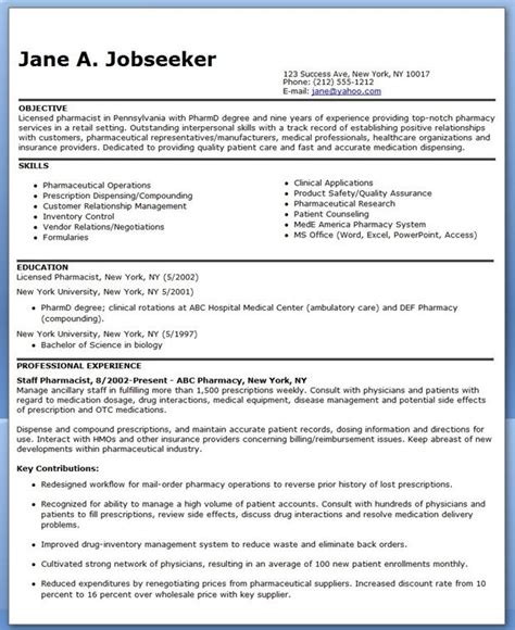 Pharmacist Resume Help by Pharmacist Resume Sle Creative Resume Design