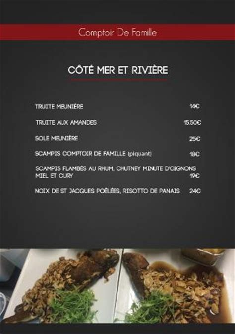 carte et menus d 233 but 2016 photo de comptoir de famille
