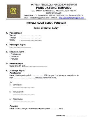 Contoh Surat Notula Tapat by Contoh Buku Notula Rapat Pendidik Paud Wikiedukasi Paud