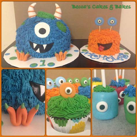 monster cake smash cake cupcakes  marshmallow pops beccas cakes  bakes pinterest