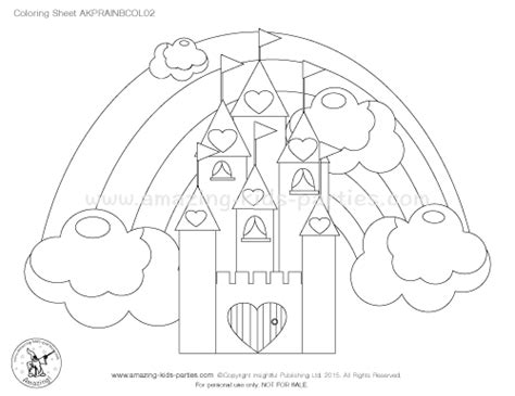 rainbow castle coloring page kids party ideas rainbow party