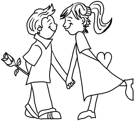 free coloring pages of drawings boy and girl