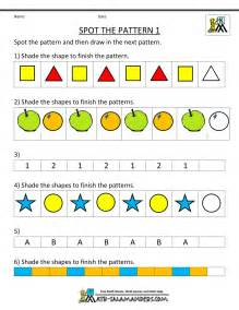 free kindergarten worksheets spot the patterns