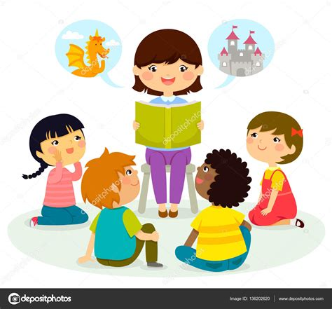 clipart bimbi listening to story stock vector 169 ayeletkeshet