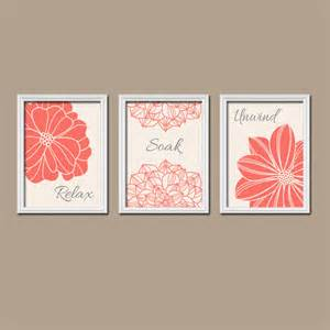 Coral bathroom wall art prints coral bathroom decor by trmdesign