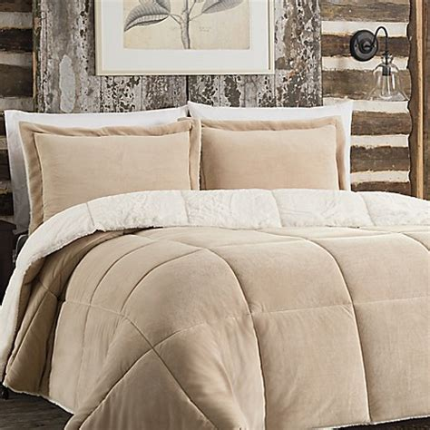 so soft plush reversible comforter set in tan bed bath