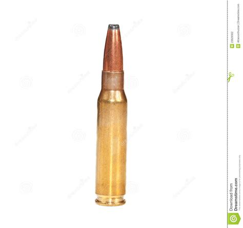 bullet for a single rifle bullet on white surface stock photo image