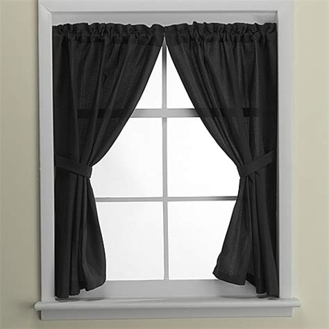 black window curtains westerly bath window curtain pair in black bed bath beyond