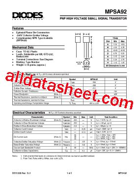 Mpsa92 Mpsa 92 mpsa92 datasheet pdf diodes incorporated