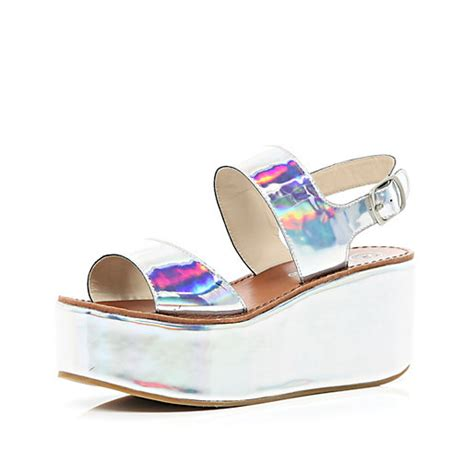 holographic platform sandals silver holographic flatform sandals wedges shoes