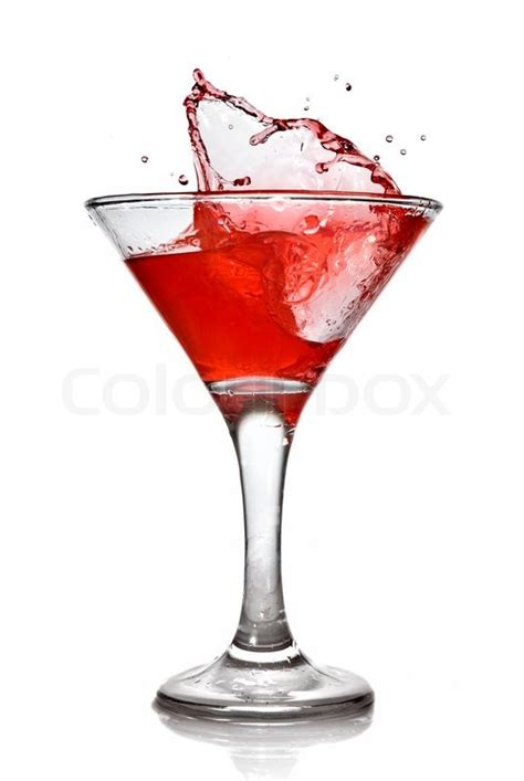 red martini splash red cocktail with splash isolated on white stock photo