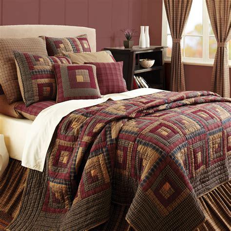 Quilt Bedding Sets King Burgundy Lodge Log Cabin Block Oversized Cal King Quilt Bedding Set Log Cabins