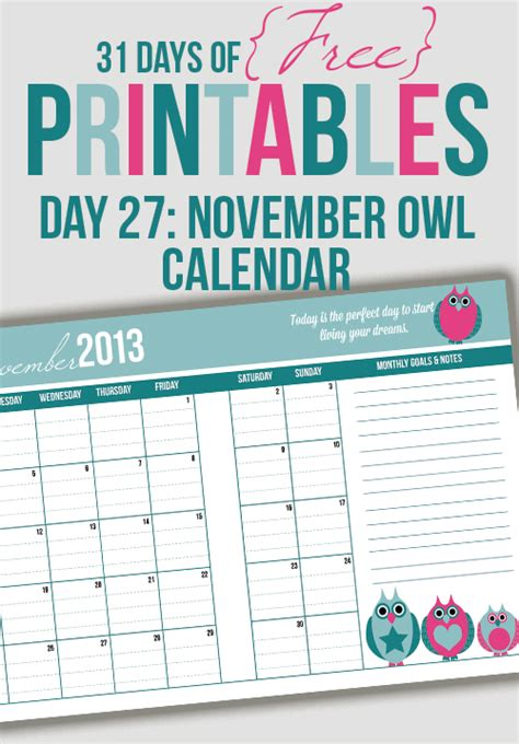 owl calendar template november owl calendar printable day 27 i planners