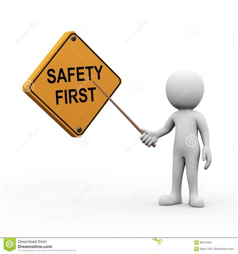 stock illustration of 3d man with safety equipment on 3d man presenting explaining safety first stock