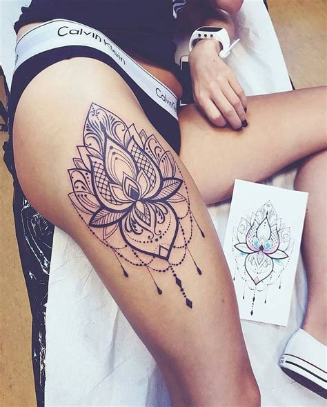 mandala thigh tattoo leg mandala mandala black pretty