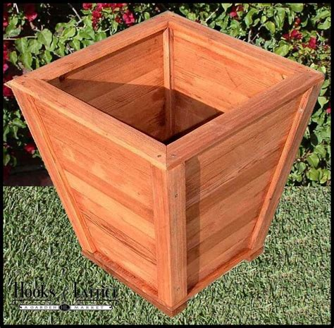 Square Wooden Planter Box Plans by Morro Bay Tapered Redwood Planter