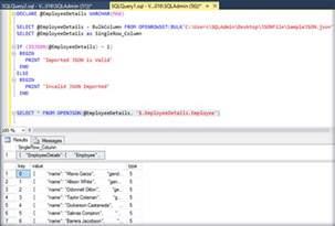 json to table sql server 2016 bulk import json file data to table