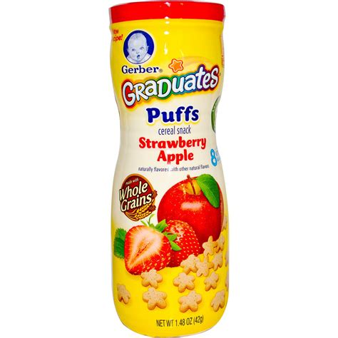 Gerber Puffs Cereal Snacks 42 Gr gerber graduates puffs cereal snack strawberry apple 1