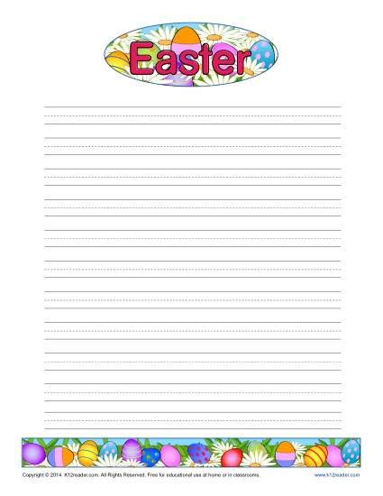 printable writing paper for spring easter printable lined writing paper