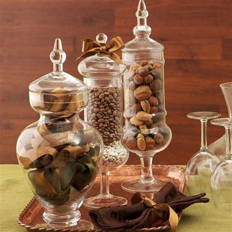 welcome fall with simple to make glass container centerpieces
