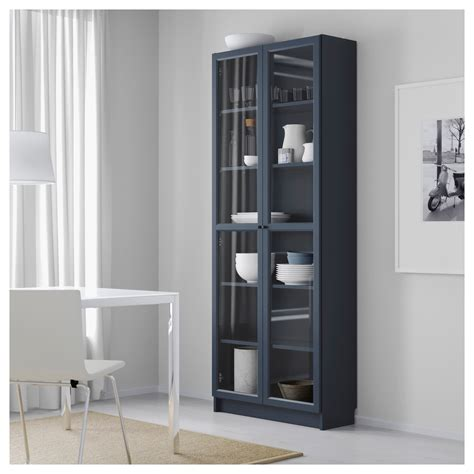 Billy Bookcase With Glass Doors Dark Blue 80x30x202 Cm Ikea Ikea Bookcases With Glass Doors