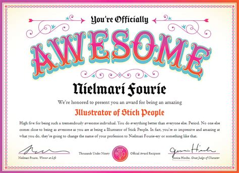 certificate of awesomeness template be awarded for being awesome 171 yes studio