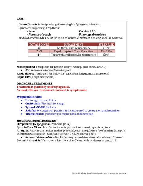 uri template respiratory infection uri sheet