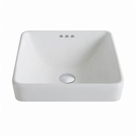 kitchen sink overflow kraus elavo series square ceramic semi recessed bathroom sink in white with overflow kcr 281