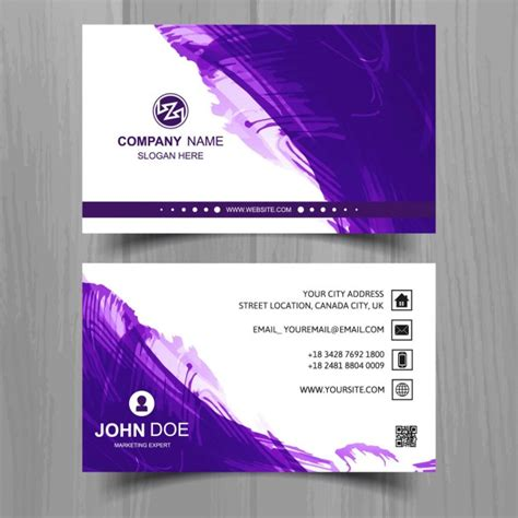 Purple And Gold Business Cards business card with purple watercolor vector free